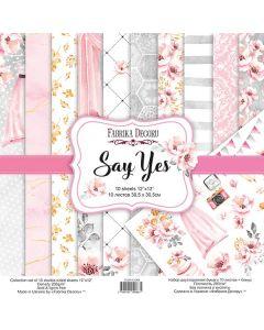 Set obojestranskih papirjev - Say Yes - 30,5x30,5cm - 10 listov - 200g