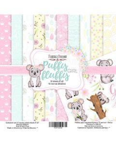 Set obojestranskih papirjev - Puffy fluffy girl  20 x 20 cm