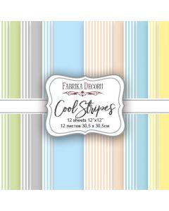 Set obojestranskih papirjev - Cool Stripes - 30,5x30,5cm - 12 listov - 175g