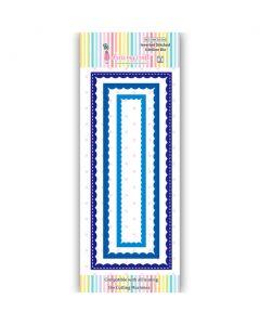 Rezalna šablona - Inverted Stitched Scalloped Slimline Die - DL - 166x32mm do 215x88mm - Dress my Craft
