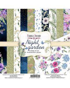 Set obojestranskih papirjev - Night garden - 30,5x30,5cm - 10 listov - 200g