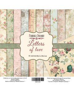 Set obojestranskih papirjev - Letters of love  30,5 x 30,5 cm