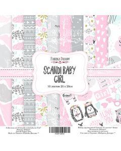 Set obojestranskih papirjev - Scandi Baby Girl - 20x20cm - 10 listov - 200g