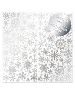 Prozorna folija s srebrnimi snežinkami - 30x30cm - 200g