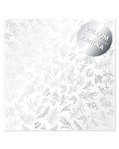 Paus papir s srebrnimi listi/vejicami - 30x30cm - 90g