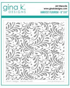 Stencil šablona - HARVEST FLOURISH - Gina K Designs