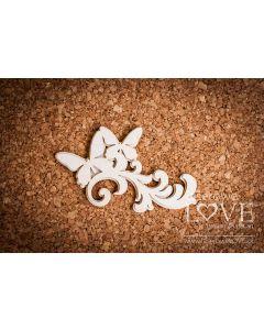 Chipboard izrezki - Ornament / listje z metuljem - 83x52mm - Laserowe Love