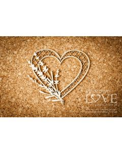 Chipboard izrezki - Srce s sivko - 83x74mm - Laserowe Love