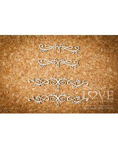 Chipboard izrezki - Ornamenti 1 - 81x17mm (največji) - Laserowe Love