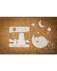 Chipboard izrezki - Medved in luna - 75x75mm (okvir) - Laserowe Love