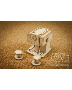 Chipboard izrezki - Retro aparat za kavo 3D - 50x57x55mm - Laserove Love