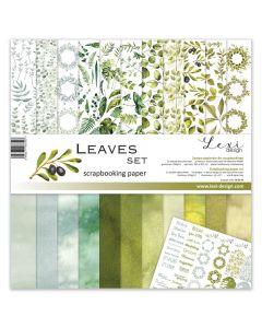 Set dvostranskih papirjev - Leaves - 30,5x30,5cm - 250g - 11 listov+bonus list - Lexi Design