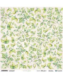 Enostranski papir - Leaves 30,5 x 30,5 cm