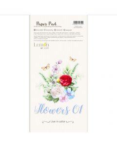 Set obojestranskih papirjev za rezanje - Flowers 01 - 15,24x30,5cm - 24 listov - 250g - Lemoncraft