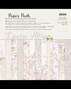 Set obojestranskih papirjev - LINEN STORY - 30x30cm - 6 listov - 250g - Lemoncraft