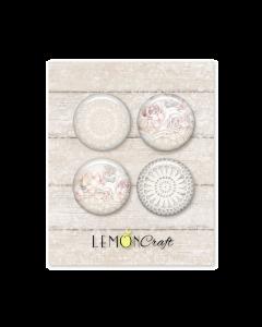 Samolepilni gumbi - LINEN STORY - 2,5cm - 4 kos - Lemoncraft