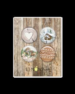 Samolepilni gumbi - NATURAL CHRISTMAS - 2,5cm - 4 kos - Lemoncraft