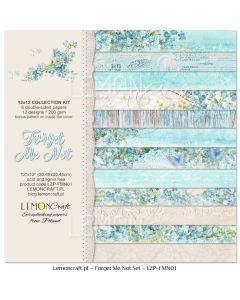 Set obojestranskih papirjev - Forget me not  30,5 x 30,5 cm