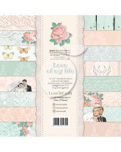 Set obojestranskih papirjev - Love of my life - 30x30cm - 8 listov - 250g - Lemoncraft