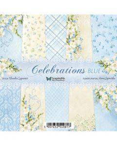 Set dvostranskih papirjev - Celebrations Blue - 15,5x15,5cm - 20 listov - 250g