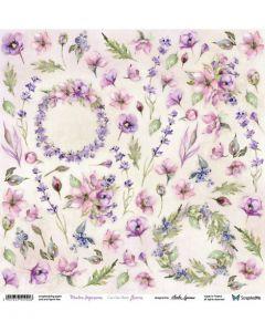 Enostranski papir - Meadow Impressions Flowers 30,5 x 30,5cm