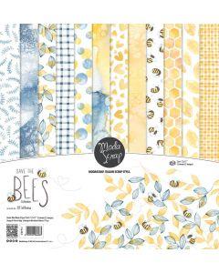 Set enostranskih papirjev - SAVE THE BEES - 30x30cm - 12 listov - 170g - Moda Scrap
