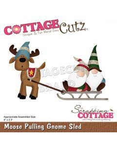 Rezalna šablona CottageCutz Moose Pulling Gnome Sled