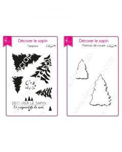 Rezalna šablona in štampiljka 4enscrap - Mini Decorate Christmas tree (smreka) - 5,3x3,6cm (največja smreka)