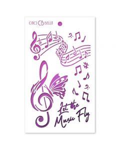 Stencil šablona - LET THE MUSIC FLY - 12,5x20,5cm - Ciao Bella