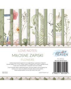 Set dvostranskih papirjev - Love notes - FLOWERS - 15x15cm - 24 listov - 200g
