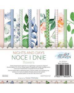 Set dvostranskih papirjev - Nights and days - Flowers - 15x15cm - 24 listov - 250g
