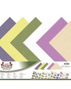 Set papirjev s teksturo Amy Design - Spring - 30,5x30,5cm - 12 listov - 250g