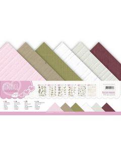 Set papirjev s teksturo Precious Marieke - Romance - 30,5x30,5cm - 12 listov - 250g