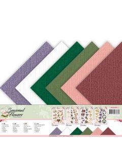 Set papirjev s teksturo Precious Marieke - Seasonal Flowers - 30,5x30,5cm - 12 listov - 250g