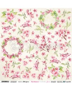 Papir za rezanje -  Pink Blossom 2 - Flowers - 30,5x30,5cm - 250g
