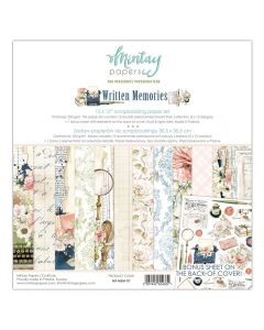 Set dvostranskih papirjev - Written Memories - 30,5x30,5cm - 12 listov + bonus - 240g - Mintay