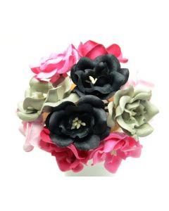 Magnolije - roza/črne/sive - 4,5cm - 10 kos