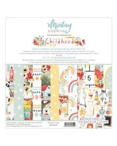 Set dvostranskih papirjev - Childhood - 30,5x30,5cm - 12 listov - 240g - Mintay
