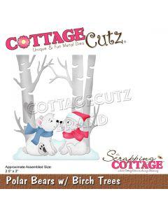 Rezalna šablona CottageCutz Polar Bears w/ Birch Trees