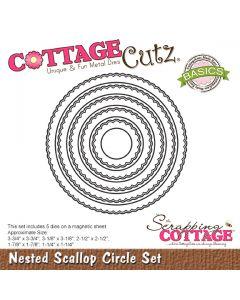 Rezalna šablona CottageCutz Nested Scallop Circle Set