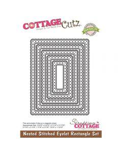 Rezalna šablona CottageCutz Nested Stitched Eyelet Rectangle Set