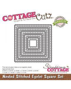 Rezalna šablona CottageCutz Nested Stitched Eyelet Square Set