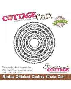 Rezalna šablona CottageCutz Nested Stitched Scallop Circle Set