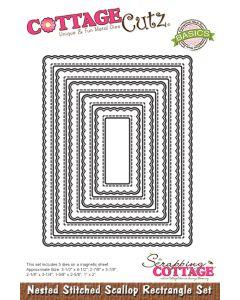 Rezalna šablona CottageCutz Nested Stitched Scallop Rectangle Set
