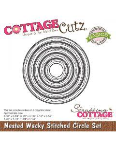 Rezalna šablona CottageCutz Nested Wacky Stitched Circle Set