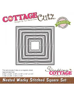 Rezalna šablona CottageCutz Nested Wacky Stitched Square Set