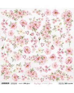 Papir za rezanje - Rosy Days - Flowers - 30,5x30,5cm - 250g
