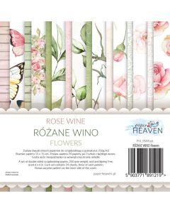 Set dvostranskih papirjev - Rose wine - FLOWERS - 15x15cm - 24 listov - 200g