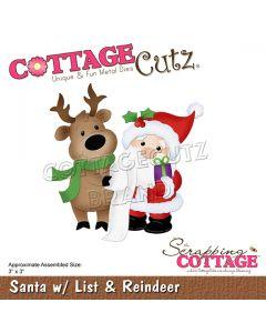 Rezalna šablona CottageCutz Santa w/List & Reindeer