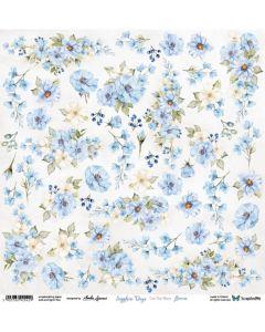 Papir za rezanje - Sapphire Days - Flowers - 30,5x30,5cm - 250g